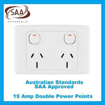 15 Amp Double Power Point Electrical Socket GPO 240V 15A Outlet White SAA