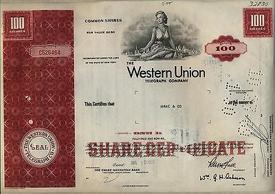 Western Union Telegraph Company Stock Certificate New York