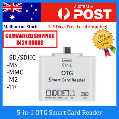 5-in-1 OTG Micro USB Card Reader (SD SDHC MS MMC M2 TF) for Samsung, HTC, Sony