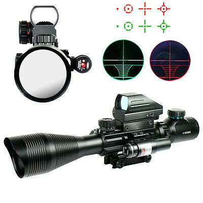 Tactical 4-12X50EG Rifle Scope w/ Holographic 4 Reticle Sight & Red Laser