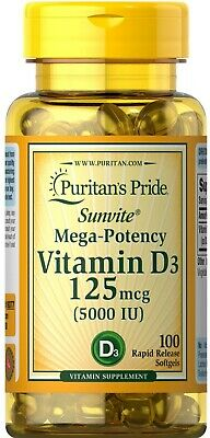 VITAMIN D3 125mcg 5000IU x100softgels Puritans Pride HEALTHY BONE IMMUNE HEALTH