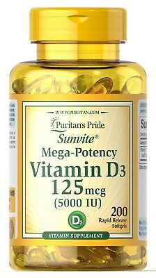 VITAMIN D3 125mcg 5000IU x200 softgels PURITANS PRIDE