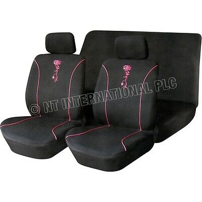 6 pcs Flower Seat Cover Set Black Pink Covers Car SUV Cushions Universal 81218C