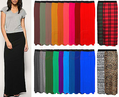 Women Ladies Jersey Maxi Skirt Long Gypsy Skirt Bodycon Summer Dress Size 8-26