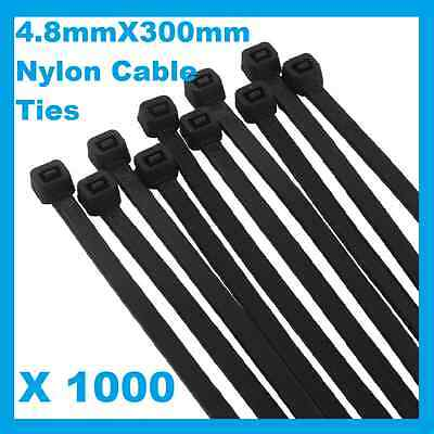 1000 x Black Nylon Cable Ties 4.8mmX 300mm (5 x300mm) Free Postage