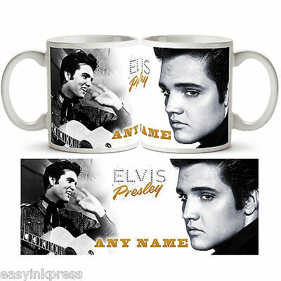 ELVIS PRESLEY PERSONALISED Ceramic Photo Mug Cup Tea Coffee Add Name Gift New