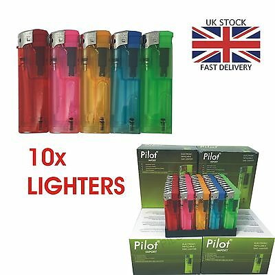 10 Electronic Lighters Refillable Gas Child Safety Adjustable Flame In 5 Colours