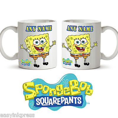 SPONGEBOB SQUAREPANTS PERSONALISED MUG cup tea coffee Name drink NEW kids Gift