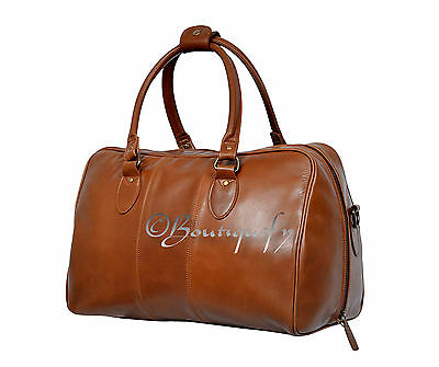 New Weekend Bag Tan Cowhide Leather Gym Duffle Overnight Travel Duffel Holdall