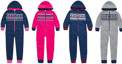 Girls Fleece All In One Suit Aztec Fair Isle Micro Hooded Blue Pink Grey Winter