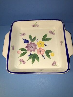 Lillian Vernon Square Baking Dish With Flowers Fruit
