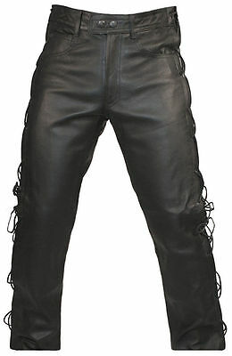 Mens Black Real Leather Motorcycle Jeans Style Side Laces Biker Trousers Pants
