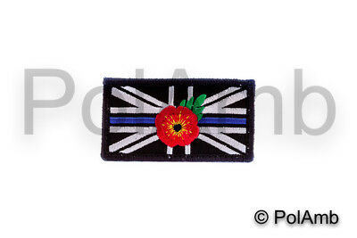 THIN BLUE LINE UNION JACK PATCH BADGE Hook Loop BACKED POLICE Remembrance (RED)