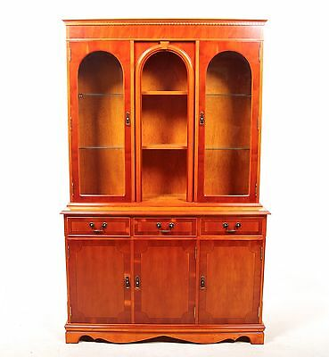 Yew Bookcase Large Glazed Library Glass Display Cabinet Bookshelves Antique Repr