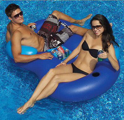 Inflatable Drink Holder & Double Pool Chair Same Intex River Run II Cooler