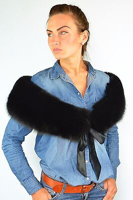 Finest Quality Jet Black Fox Fur Women's Furry Collar Scarf/Shawl/Wrap Neck