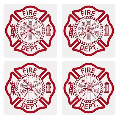 """Maltese Cross Very Small 1"""" Reflective Decal Sticker Sheet of 4"""