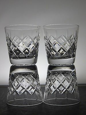 Webb Corbett Crystal Clifton Cut Glass Old Fashioned Whisky Tumblers Set Of 4