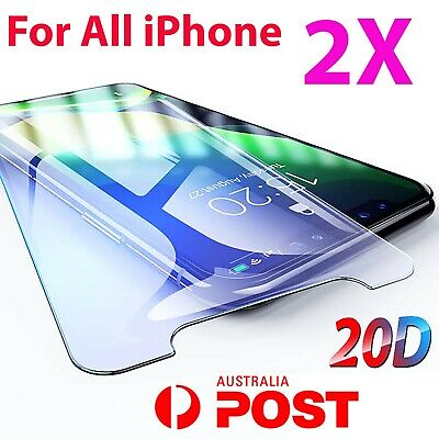 2x Tempered Glass Screen Protector iPhone 11 PRO Max XR X XS 7 6 6s plus 8 4 7p9