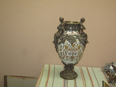 "Chinese Porcelain and Bronze Mount Vase w/ Figurines 17"" x 10"""