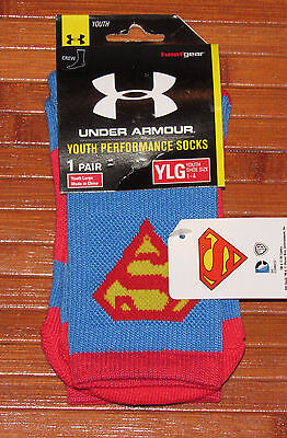 Youth Under Armour Alter Ego Superman Crew Socks Light Blue Yellow Red-YLG