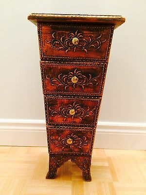 Wooden Copper Embossed Hand Carved Cabinet (23 inches high)