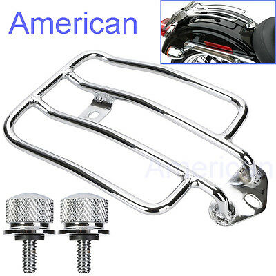 Chrome Luggage Rack Solo Seat W/ Two Blots For HD Sportster XL883 1200 2004-2015