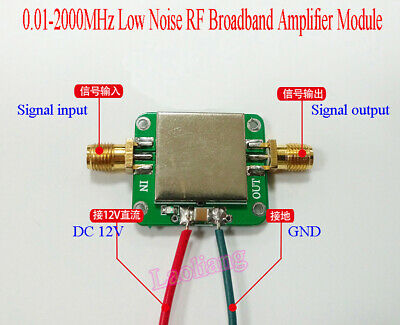 12V 0.01-2000MHz 2GHz 32dB LNA Broadband RF Low Noise Amplifier Module VHF/UHF