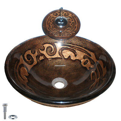 Handcraft Dark Brown Gold-patterned Glass Vessel Sink and Faucet Free Shipping
