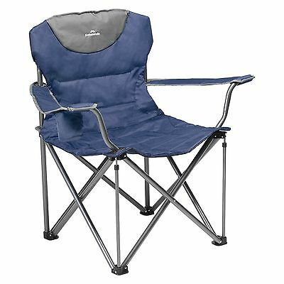 Kathmandu Maison Outdoor Camping Folding Padded Chair with Cup Holder Dark Blue