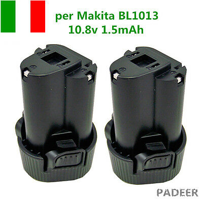 2X Makita BL1013 Batteria 10,8V 1,5Ah 1500mAh 1,3Ah Litio Lithium-ion 194550-6 A
