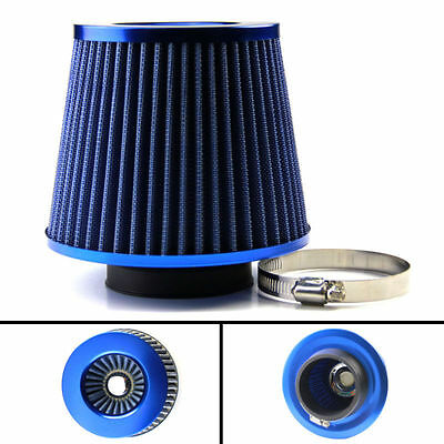Universal Blue Chrome Finish Car Air Filter Induction Kit Sports Mesh Cone