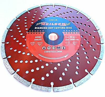 "9"" 230Mm Diamond Dry Cutting Disc Angle Grinder Saw Blade Stone Concrete Masonry"
