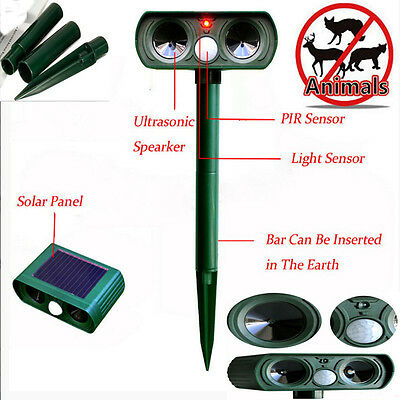 SOLAR Ultra Sonic Garden Animal Deterrent  Repeller Cat Dog Fox Bird Scarer UK