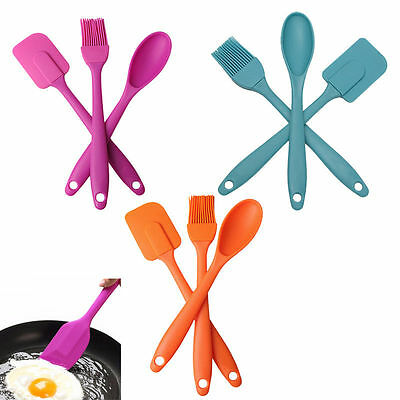 3pcs Set Silicone Spatula Spoon Brush Kitchen Cooking Pastry Baking Mixing Tools