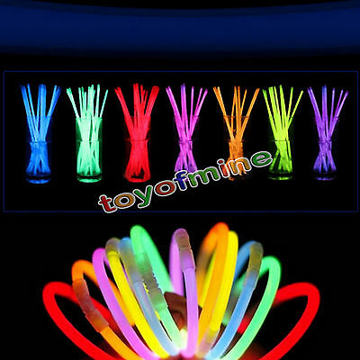 "50/100 Glow Sticks 8"" Inch Neon Bracelet Necklace Parties Festivals"
