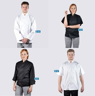 Premium Quality Chef Jacket - Black or White - Free Coloured chef buttons