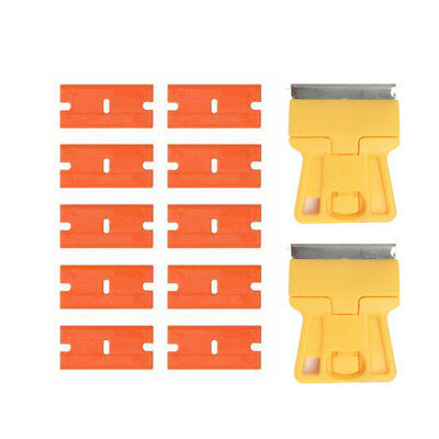 10Pcs Double Edge Plastic Blades & Razor Scraper Window Tinting Oven Removal