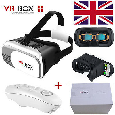 New VR BOX 2nd Virtual Reality 3D Glasses Headset Helmet + Bluetooth Control UK