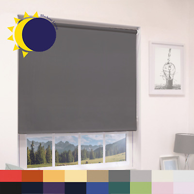 100% Thermal Blackout Roller Blinds - Many Sizes & Colours