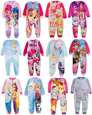 Girls Fleece Character All In One Kids Novelty Sleepsuit Pyjamas Size