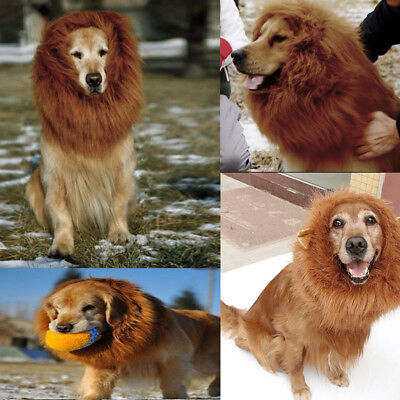 Pet Dog Costume Clothes Funny Fancy Dress Up Lion Mane Wigs Hair For Large Dogs