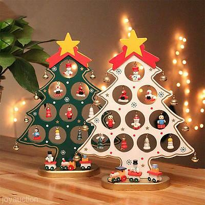 Cartoon Style Wooden Christmas Tree Decoration DIY Handmade Table Desk Ornament