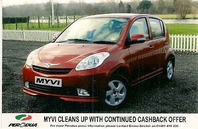Perodua Myvi Cashback Offer Original UK Market Colour Press Photograph