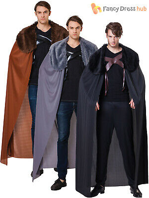 Adult Games of Thrones Fur Cape Mens Medieval Viking Cloak Fancy Dress Accessory