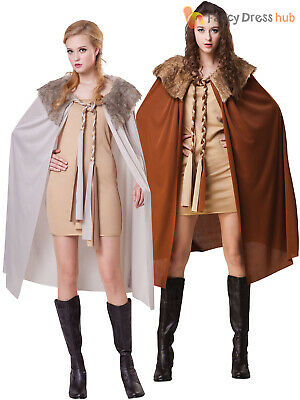Ladies Deluxe Cape Adults Game of Thrones Cloak John Snow Fancy Dress Accessory
