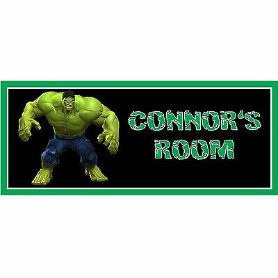 Incredible Hulk themed personalised hand made wooden door plaque sign gift idea