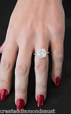 4 .1 Cushion Created DIAMOND 3 Ring SET Engagement REAL 925 Silver  ��