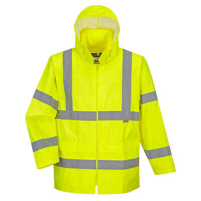 Class 3 Hi-Vis Rain Jacket Robust Protection 190T Sizes S-7Xl Uh440 Great Value