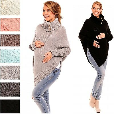 Happy Mama Women's Maternity Cable Chunky Knit Poncho Sweater Jumper Wrap 312p